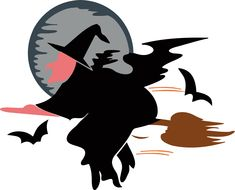Witch on a broom flying under full Moon. Free Images, Full Moon, High Quality Images, Vector Free, Clip Art, Halloween, Animals, Gif, Animales