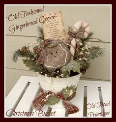 Primitive Old Fashioned Gingerbread Cookie Christmas Bucket ePattern