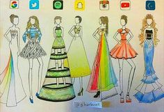 Social Media Runway Dresses this one wasn't mine it was my cousins ❤️ App Drawings, Disney Drawings, Drawing Sketches, Pretty Drawings, Amazing Drawings, Social Media Art, Arte Fashion, Fashion Design Drawings, Fashion Sketches