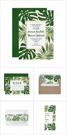 Tropical monstera and palm leaves wedding invitations and coordinating stationery collection