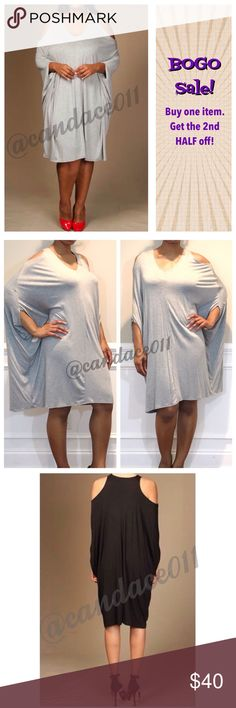 Open Shoulder Jersey Dress (Heather Grey) 🔹95% Viscose, 5% Spandex 🔹Loose, relaxed fit. May want to go down a size. 🔹Size Recommendations: S (2-4), M (6-8), L (10-12), 1X (14-16), 2X (18-20), 3X (22-24) 🇺🇸Made in the USA 🇺🇸 🔸Note: This is a listing for the grey dress. I'm using the pics of the black dress so you can see what it looks like on all sides.🔸 CC Boutique  Dresses Mini