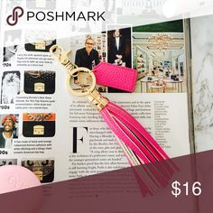 Magenta Leather Tassel Super posh magenta leather tassel. Use with your keys or your purse... Or both! Gold clasp and key ring attached. Accessories Key & Card Holders
