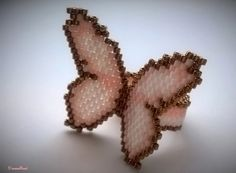 Peyote butterfly ring