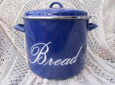 Vintage Enamelware Blue Bread Bin by OldEnglishMilly on Etsy, £30.00