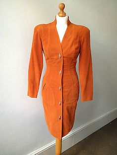 Vintage 1980s Thierry Mugler orange moleskin fitted dress - signature details