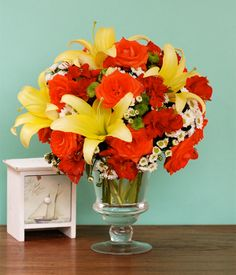 CARDINAL Rose, Alstromeria, Mums & Lily Flowers Colorful, classy, and truly cheerful! This is how this flower arrangement is best described. You can send this now and let them say it too! Fresh Flowers, Spring Flowers, Flowers Today, Happy Today, Flower Delivery, Flower Arrangements, Glass Vase, Lily, Classy