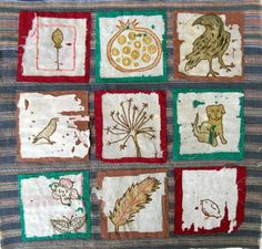 hand stitched using disintegrated prayer flags on silk squares by Jan Brattain