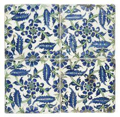 Four Damascus pottery tiles. Islamic Tiles, Islamic Art, Art Nouveau Tiles, Antique Tiles, Turkish Tiles, Tile Art, Ceramic Artists, Damascus, Tile Patterns