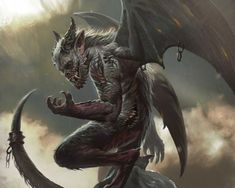 Card illustration for Mage Wars tabletop game, done some time ago. Arcane Wonders© by albino-Z @ DeviantArt Fantasy Monster, Monster Art, Dark Fantasy Art, Dark Art, Gargoyle Tattoo, Ange Demon, Arte Horror, Angels And Demons, Dark Souls