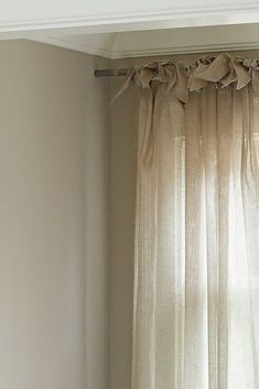 Tie Top Curtains, Linen Curtains, Cabin Curtains, Hang Curtains, Bed Linens, French Country Living Room, French Country Bedrooms, French Country Curtains, Living Room Decor Curtains