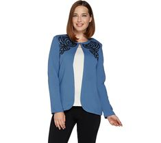 A Sequined And Embroidered Design Creates Fashionable Flourish On The Front Of This Bob Mackie Jacket A Hook And Eye Closure Secures The Open Front