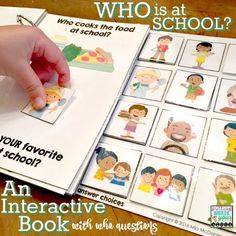 "Who is at school? {A motivating, hands-on interactive book for teaching about school staff and addressing ""who"" questions! Handy for back to school or anytime!"