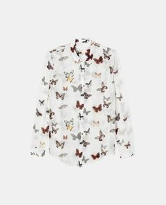 "Boyfriend shirt in cotton silk with a ""Butterfly"" print"