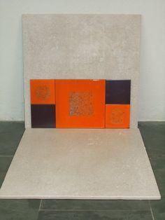 Composición azulejos en naranja y esmalte metalizado