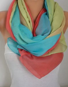 Rainbow Scarf  Oversize Scarf Shawl Cotton Scarf Cowl by fatwoman