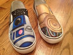 Custom Painted Star Wars Shoes by SparkleCustomShoes on Etsy for Matt