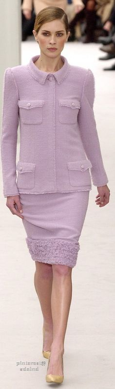 Chanel Couture ~ Spring Lavender Knit Skirt Suit, 2004