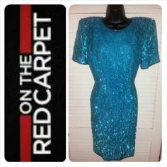 "Host Pick Sequin Teal Cocktail Dress Gorgeous, and fun dress 100% silk, 35"" long. Dark teal, with matching sequins. Show stopper! Worn once, Like New! Stenay Dresses"