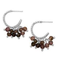Hammered Half Hoop Earrings with Tourmaline Beads