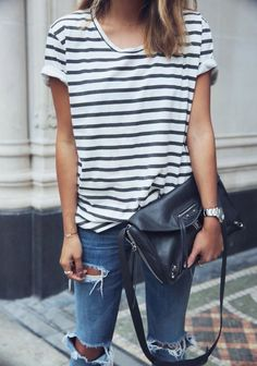 stripes + destroyed denim
