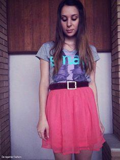 Look do Dia   Saia Coral e T shirt