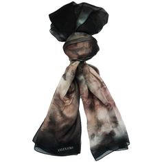 Pre-owned Valentino Scarf/Wrap ($150) ❤ liked on Polyvore featuring accessories, scarves, apparel & accessories, black, clothing accessories, scarves & shawls, multi colored scarves, black shawl, lightweight scarves and black wrap shawl