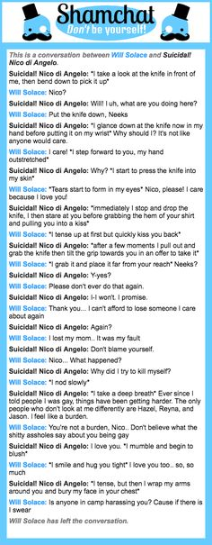 A conversation between Suicidal! Nico di Angelo and Will Solace