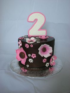 Gâteau fête fleur cake happy birthday flower girl fille girly rose pink 2