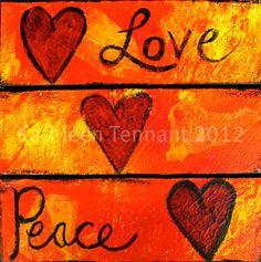 Peace and Love  Signed 7x7 Mixed Media Art Print by papercraftsbyk, $12.00