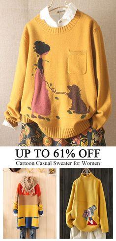 Women's Sweaters - - Cartoon Long Sleeve Pocket Casual Pullover Sweater for Women. Women Casual Bead Long Sleeve O-neck Winter Sweater Loose Pearl Pullovers. Casual Sweaters, Winter Sweaters, Long Sweaters, Pullover Sweaters, Site Mode, Pullover Mode, Long Sleeve Sweater, Batwing Sleeve, Loose Sweater