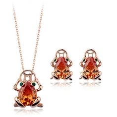 18k gold plated crystal toad zircon necklace earrings jewelry set [JS673] - US$15.31 : www.evernewfashion.com