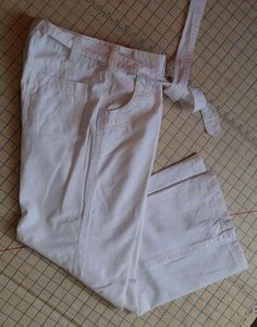 Womens White Pants Linen blend Belted Wide Leg Sailor Flame SZ 12 US 40 eUR #Flame #Linen