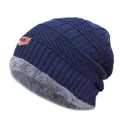 Winter Beanies Cap ~ Knitted Thick Warm Skullies. Men Beanies Knit Hat ... 3318e0b8ed35