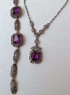 Necklace Lariat and Bracelet Sterling Filigree Set  Purple Amethyst Stone