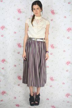 Vintage striped circle skirt  high waist maroon by renewvintage
