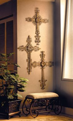 Rustic cross display walls need a good mix of small and large ...