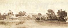 Sepia Mid 20th Century Watercolour - Farm Buildings