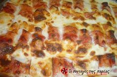 Chicken with bacon and cheese Party Finger Foods, Greek Recipes, Hawaiian Pizza, Food Dishes, Buffet, Bacon, Cooking Recipes, Yummy Food, Favorite Recipes