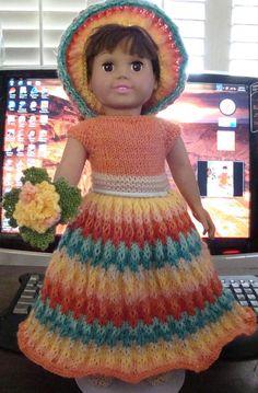 Ladyfingers - AG doll - Rainbow Bridesmaid Dress, Head Piece and Bouquet