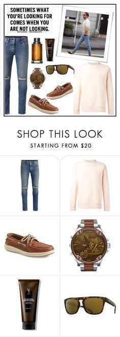 """""""SOMETIMES WHAT YOU'RE LOOKING FOR, COMES WHEN YOU ARE NOT LOOKING!!!"""" by kskafida ❤ liked on Polyvore featuring Jack & Jones, PS Paul Smith, Sperry, V76 by Vaughn, Kaenon, BOSS Hugo Boss, men's fashion and menswear"""