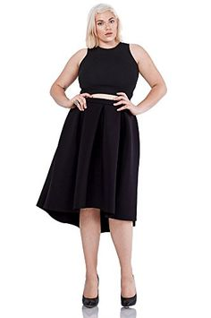08eee710e4 Poshsquare Womens Fashion Trendy High Low Midi Scuba Skirt Plus Size USA
