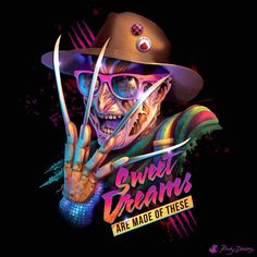 Sweet Dreams are Made of This pop parody Freddy Krueger horror villain music Eurythmics Nightmare on Elm Street Wes Craven) Arte Horror, Scary Movies, Horror Movies, Horror Villains, Pochette Cd, Images Disney, Helloween Party, Funny Horror, Character Art