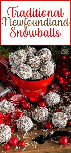 holiday baking Traditional Newfoundland Snowballs - One of the most recognized confections in Newfoundland, these traditional snowballs are a no-bake version with lots of chocolate and coconut flavour! Christmas Cookie Exchange, Christmas Sweets, Christmas Cooking, Christmas Goodies, Christmas Candy, Christmas Chocolates, Xmas Food, Christmas Pudding, Candy Recipes