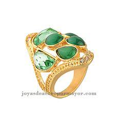 anillos de moda de buena forma con esmeralda de acero inoxidable