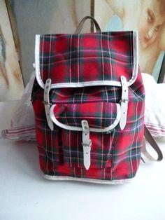 Vintage Rucksack Wanderrucksack Karo 60er 70er Ja, so einen hatte ich!!!!