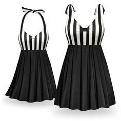Customizable Day & Night Print Halter or Shoulder Strap 2pc Plus Size Swimsuit/SwimDress