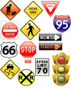 road signs & traffic light vector preview