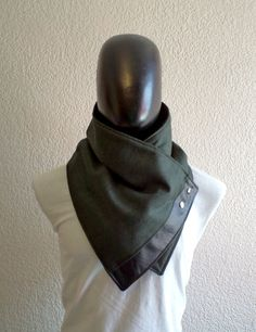 Men scarf. Men cowl,Wide, Forest green wool with faux black leather and metalic snaps . Trendy, modern, chunky  and cozy.