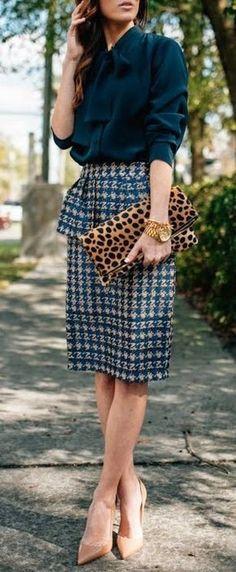 #summer #outfits  Navy Shirt + Printed Skirt + Leopard Clutch