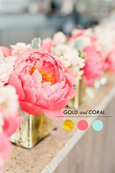 coral and pink wedding centerpieces flowers color inspiration